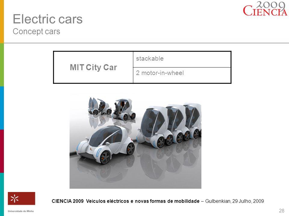 CIENCIA 2009 Veículos eléctricos e novas formas de mobilidade – Gulbenkian, 29 Julho, 2009 28 Electric cars Concept cars MIT City Car stackable 2 moto