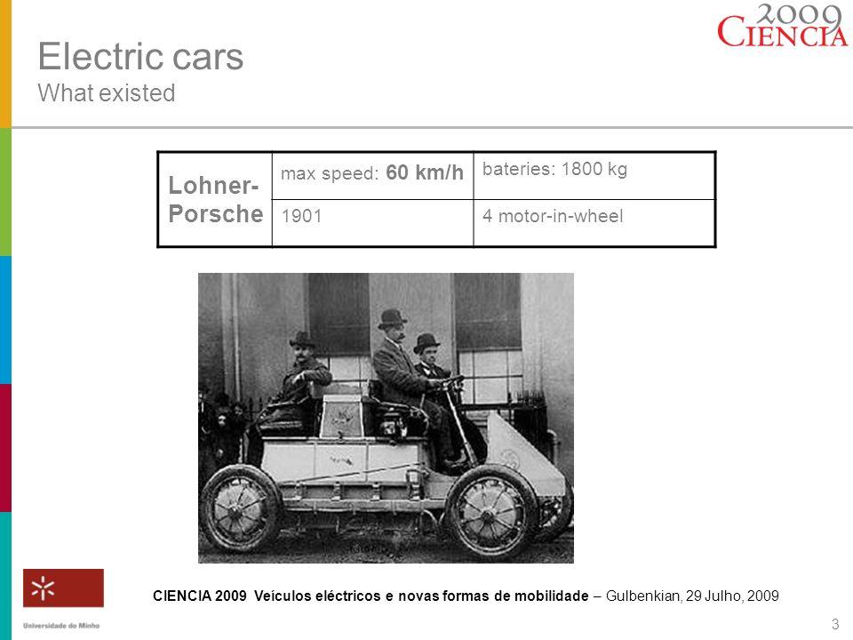 CIENCIA 2009 Veículos eléctricos e novas formas de mobilidade – Gulbenkian, 29 Julho, 2009 3 Electric cars What existed Lohner- Porsche max speed: 60