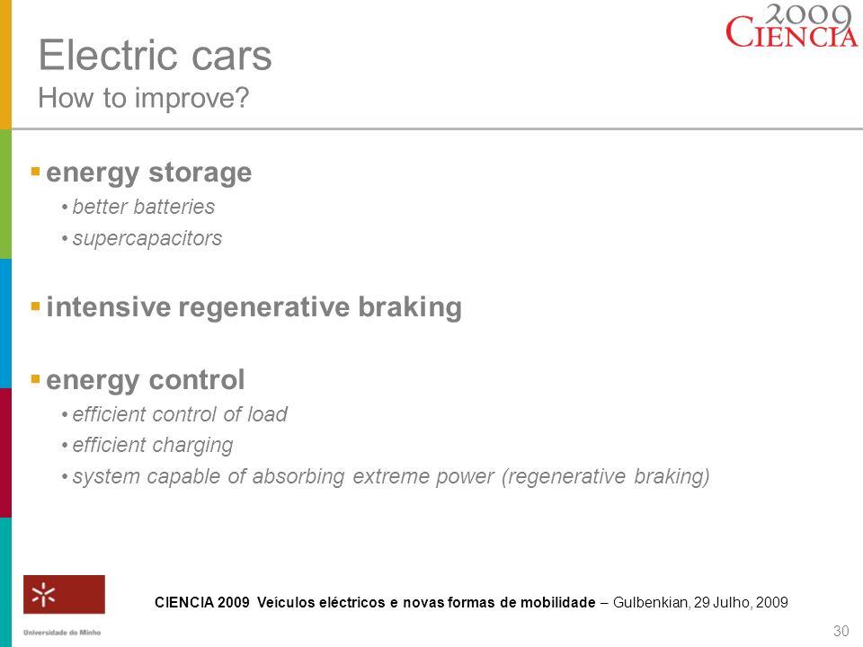 CIENCIA 2009 Veículos eléctricos e novas formas de mobilidade – Gulbenkian, 29 Julho, 2009 30 Electric cars How to improve? energy storage better batt