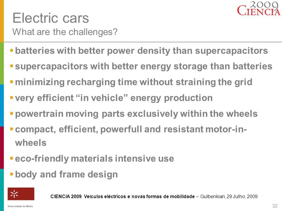 CIENCIA 2009 Veículos eléctricos e novas formas de mobilidade – Gulbenkian, 29 Julho, 2009 32 Electric cars What are the challenges? batteries with be