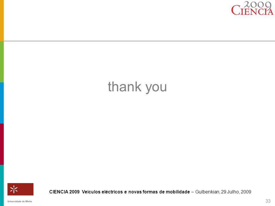 CIENCIA 2009 Veículos eléctricos e novas formas de mobilidade – Gulbenkian, 29 Julho, 2009 33 thank you
