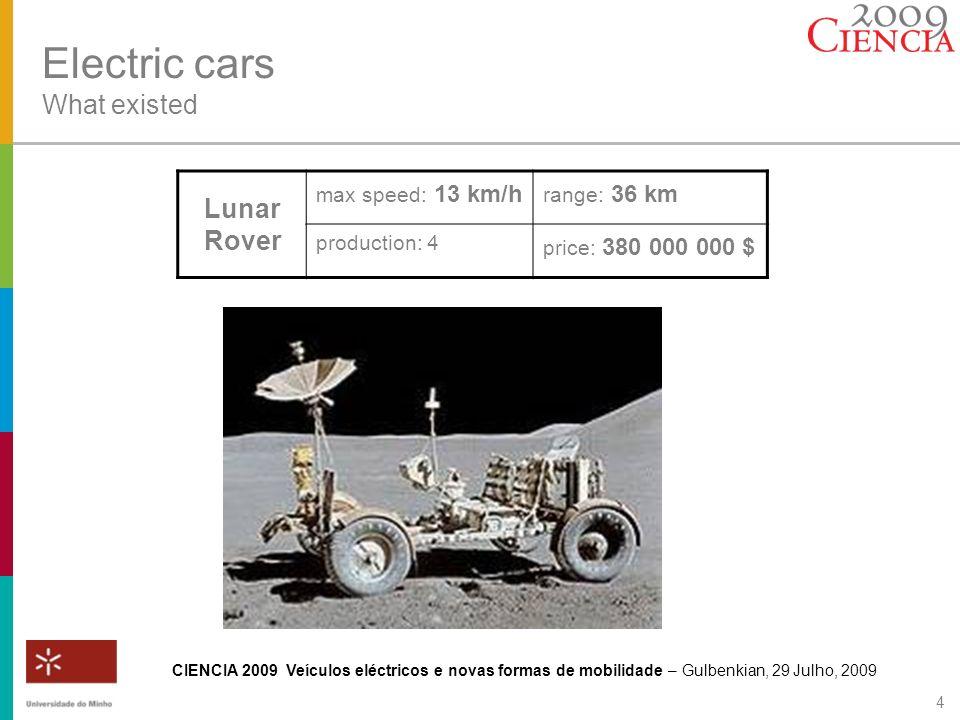 CIENCIA 2009 Veículos eléctricos e novas formas de mobilidade – Gulbenkian, 29 Julho, 2009 4 Electric cars What existed Lunar Rover max speed: 13 km/h