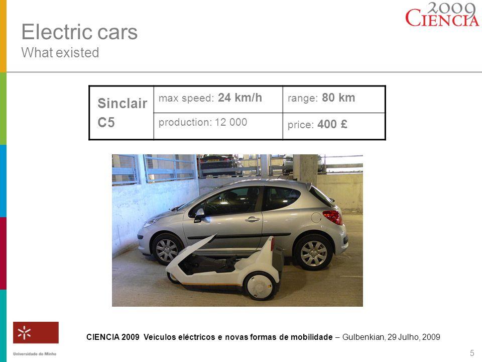 CIENCIA 2009 Veículos eléctricos e novas formas de mobilidade – Gulbenkian, 29 Julho, 2009 6 Electric cars What existed Segway max speed: 20 km/h range: 40 km 2 motor-in-wheel price: 6 500