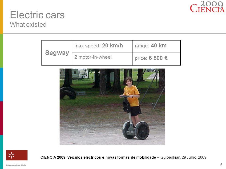 CIENCIA 2009 Veículos eléctricos e novas formas de mobilidade – Gulbenkian, 29 Julho, 2009 6 Electric cars What existed Segway max speed: 20 km/h rang