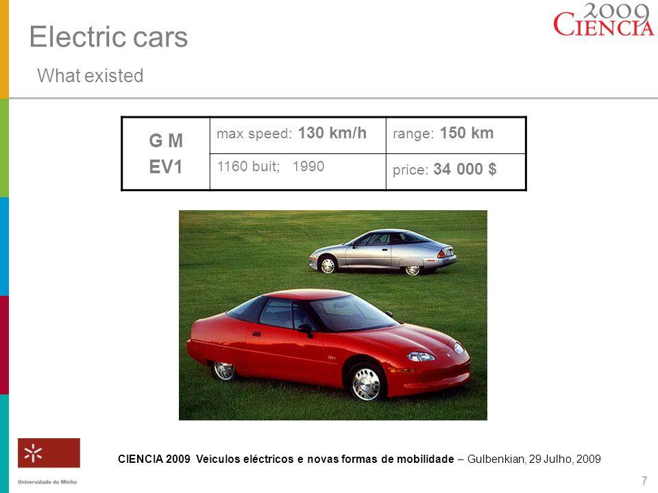 CIENCIA 2009 Veículos eléctricos e novas formas de mobilidade – Gulbenkian, 29 Julho, 2009 7 G M EV1 max speed: 130 km/h range: 150 km 1160 buit; 1990