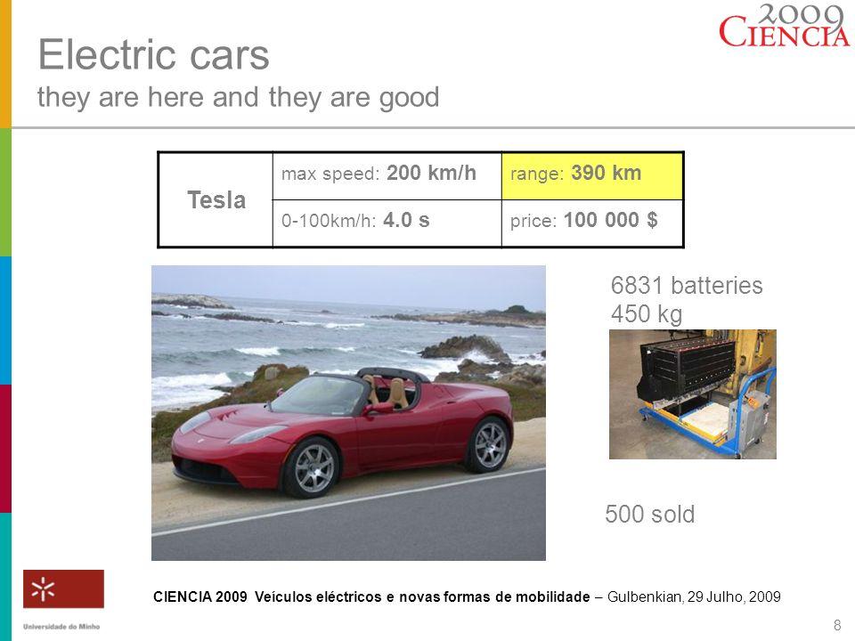 CIENCIA 2009 Veículos eléctricos e novas formas de mobilidade – Gulbenkian, 29 Julho, 2009 9 Electric cars they are here and they are good Lightning max speed: 209 km/h range: 300 km 0-100km/h: 4.0 s price: 155 000