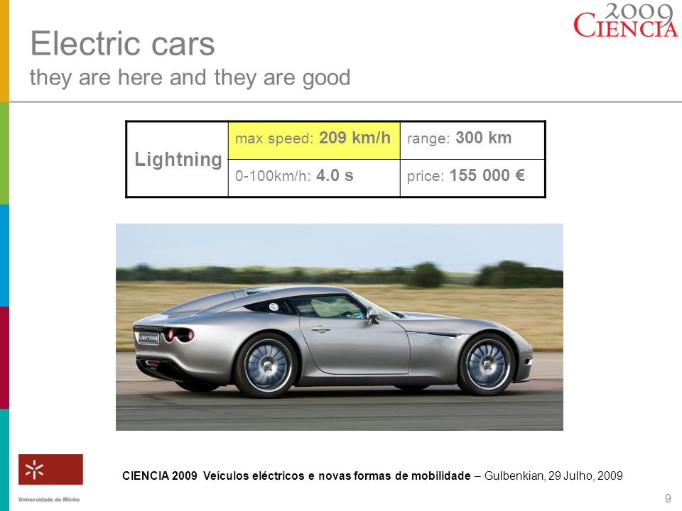 CIENCIA 2009 Veículos eléctricos e novas formas de mobilidade – Gulbenkian, 29 Julho, 2009 9 Electric cars they are here and they are good Lightning m
