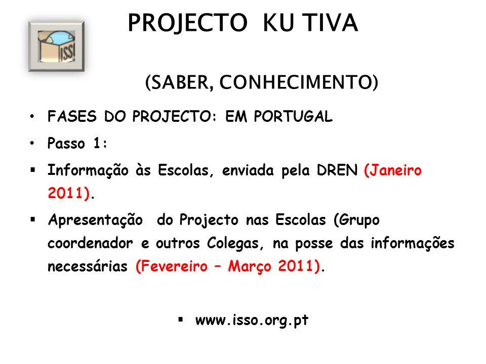 PROJECTO KU TIVA (SABER, CONHECIMENTO) FASES DO PROJECTO: EM PORTUGAL Passo 1: Informação às Escolas, enviada pela DREN (Janeiro 2011). Apresentação d