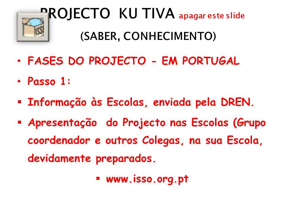 PROJECTO KU TIVA apagar este slide (SABER, CONHECIMENTO) FASES DO PROJECTO - EM PORTUGAL Passo 1: Informação às Escolas, enviada pela DREN. Apresentaç