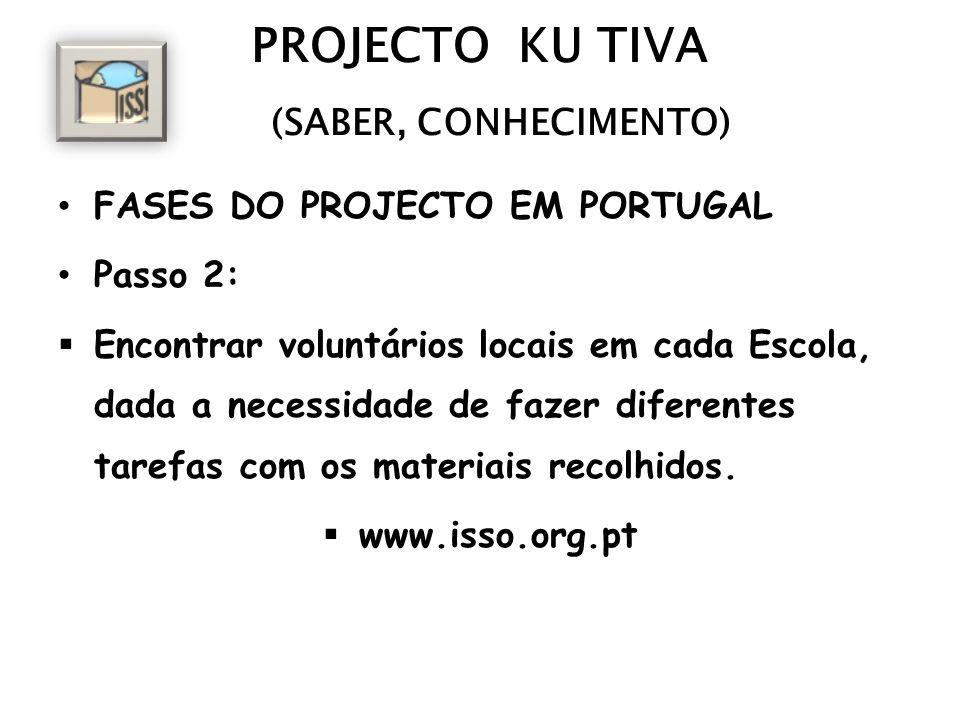 PROJECTO KU TIVA (SABER, CONHECIMENTO) FASES DO PROJECTO EM PORTUGAL Passo 2: Encontrar voluntários locais em cada Escola, dada a necessidade de fazer diferentes tarefas com os materiais recolhidos.
