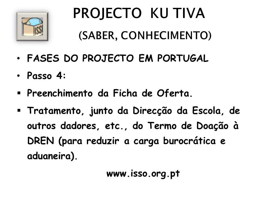 PROJECTO KU TIVA (SABER, CONHECIMENTO) FASES DO PROJECTO EM PORTUGAL Passo 4: Preenchimento da Ficha de Oferta. Tratamento, junto da Direcção da Escol