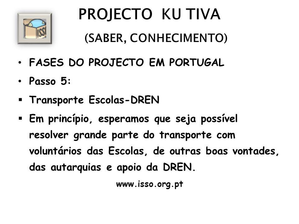 PROJECTO KU TIVA (SABER, CONHECIMENTO) FASES DO PROJECTO EM PORTUGAL Passo 5: Transporte Escolas-DREN Em princípio, esperamos que seja possível resolv