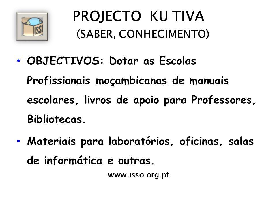 PROJECTO KU TIVA (SABER, CONHECIMENTO) OBJECTIVOS: Dotar as Escolas Profissionais moçambicanas de manuais escolares, livros de apoio para Professores,