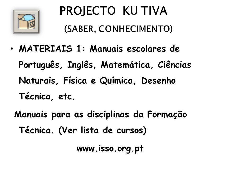PROJECTO KU TIVA (SABER, CONHECIMENTO) MATERIAIS 1: Manuais escolares de Português, Inglês, Matemática, Ciências Naturais, Física e Química, Desenho T
