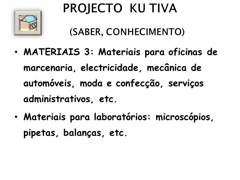 PROJECTO KU TIVA (SABER, CONHECIMENTO) MATERIAIS 3: Materiais para oficinas de marcenaria, electricidade, mecânica de automóveis, moda e confecção, serviços administrativos, etc.