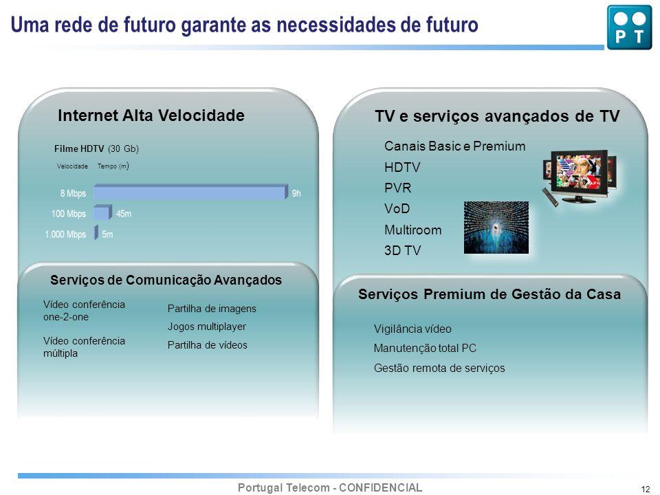 Portugal Telecom - CONFIDENCIAL 12 Internet Alta Velocidade TV e serviços avançados de TV Serviços de Comunicação Avançados Serviços Premium de Gestão