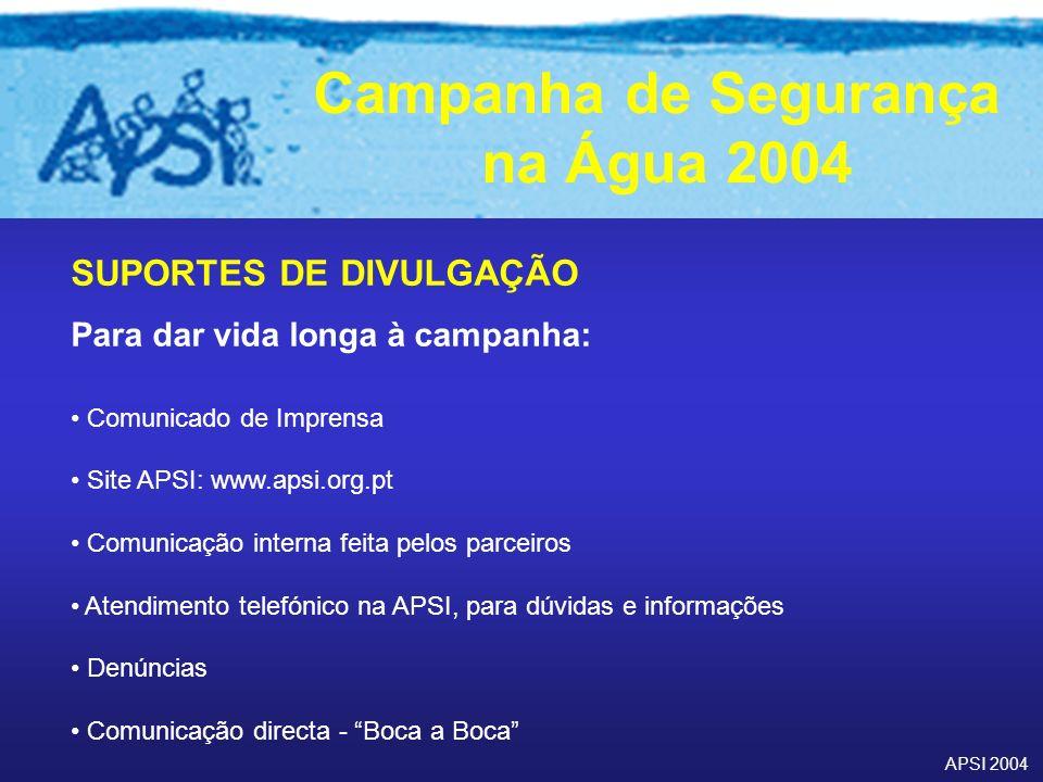 APSI 2004 Campanha de Segurança na Água 2004 SUPORTES DE DIVULGAÇÃO Para dar vida longa à campanha: Comunicado de Imprensa Site APSI: www.apsi.org.pt