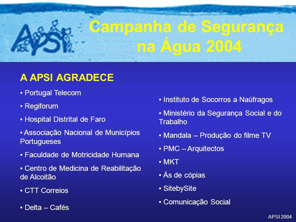 APSI 2004 Campanha de Segurança na Água 2004 A APSI AGRADECE Portugal Telecom Regiforum Hospital Distrital de Faro Associação Nacional de Municípios P