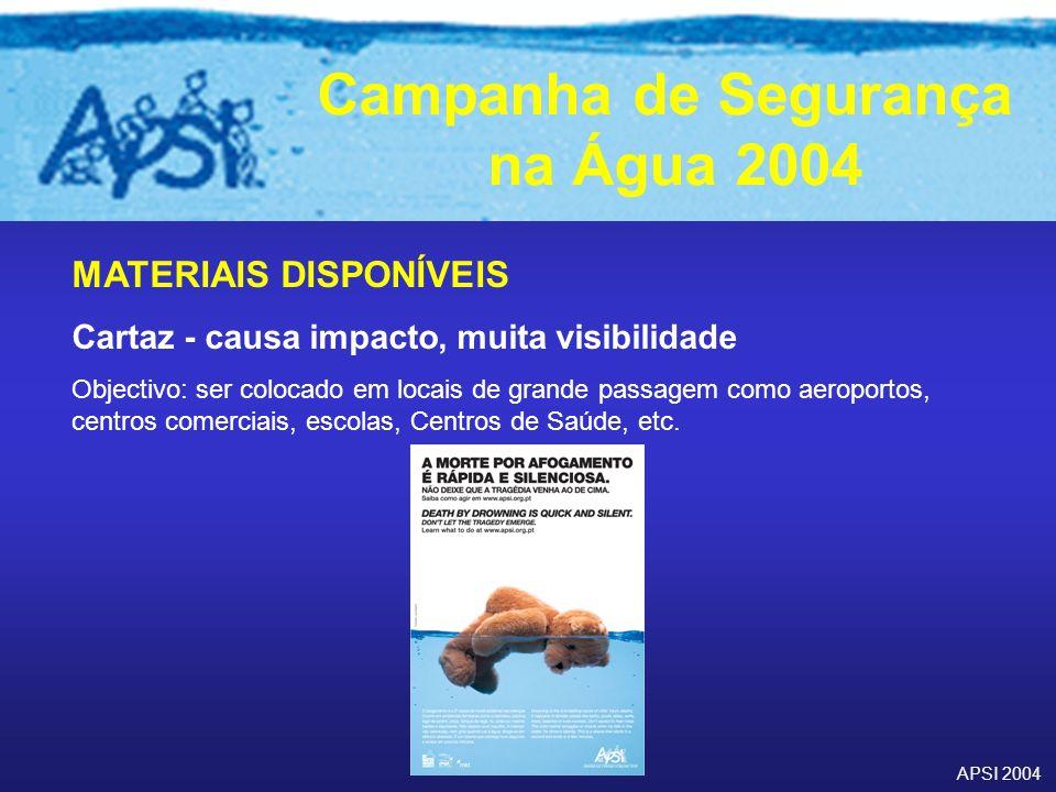 APSI 2004 Campanha de Segurança na Água 2004 MATERIAIS DISPONÍVEIS Cartaz - causa impacto, muita visibilidade Objectivo: ser colocado em locais de gra