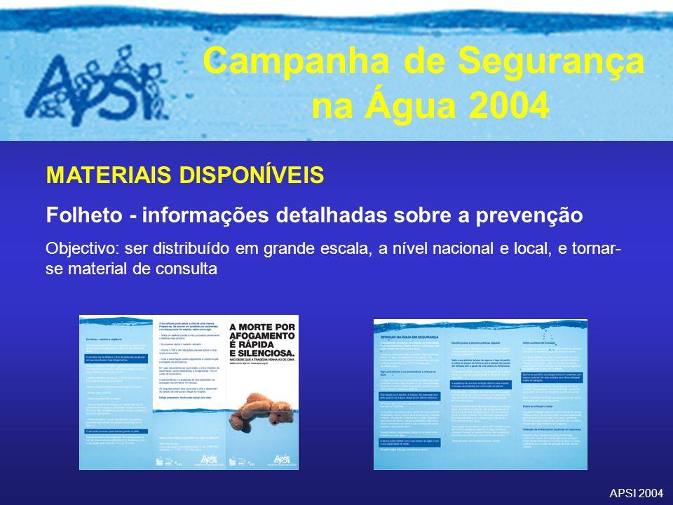 APSI 2004 Campanha de Segurança na Água 2004 MATERIAIS DISPONÍVEIS Folheto - informações detalhadas sobre a prevenção Objectivo: ser distribuído em gr