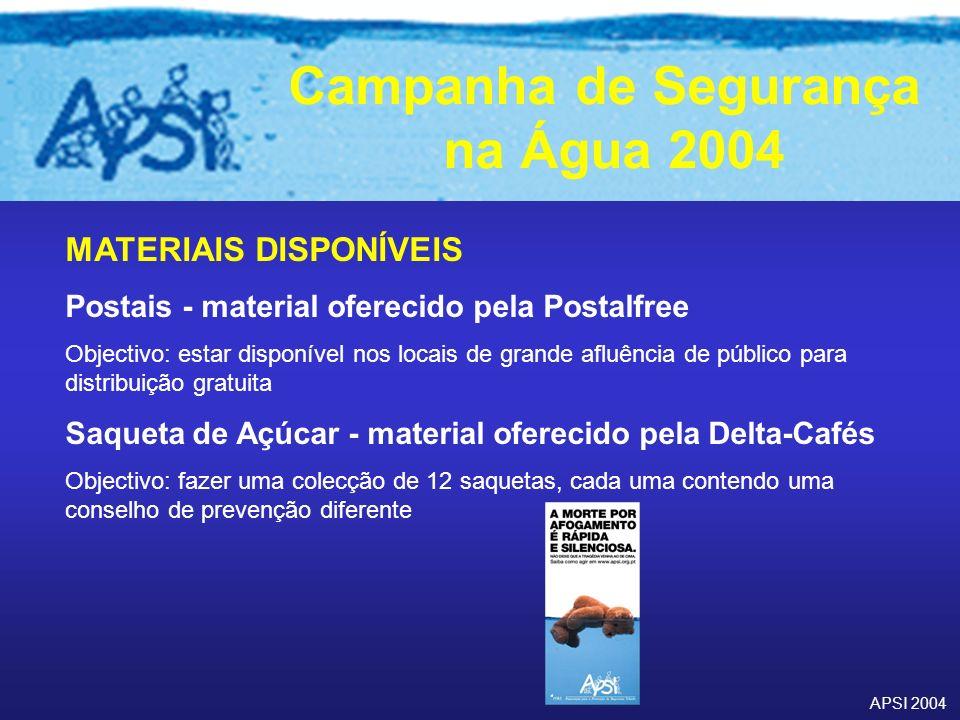 APSI 2004 Campanha de Segurança na Água 2004 MATERIAIS DISPONÍVEIS Postais - material oferecido pela Postalfree Objectivo: estar disponível nos locais