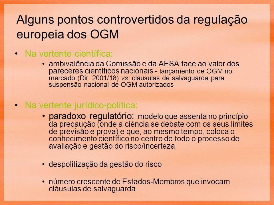Alguns pontos controvertidos da regulação europeia dos OGM Na vertente científica: ambivalência da Comissão e da AESA face ao valor dos pareceres científicos nacionais - lançamento de OGM no mercado (Dir.