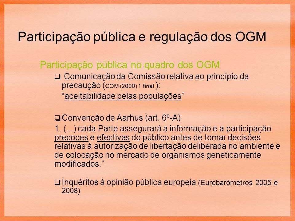 Participação pública no quadro dos OGM Comunicação da Comissão relativa ao princípio da precaução ( COM (2000) 1 final ): aceitabilidade pelas populações Convenção de Aarhus (art.