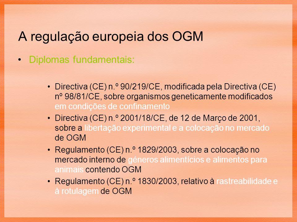 A regulação europeia dos OGM Diplomas fundamentais: Directiva (CE) n.º 90/219/CE, modificada pela Directiva (CE) nº 98/81/CE, sobre organismos geneticamente modificados em condições de confinamento Directiva (CE) n.º 2001/18/CE, de 12 de Março de 2001, sobre a libertação experimental e a colocação no mercado de OGM Regulamento (CE) n.º 1829/2003, sobre a colocação no mercado interno de géneros alimentícios e alimentos para animais contendo OGM Regulamento (CE) n.º 1830/2003, relativo à rastreabilidade e à rotulagem de OGM