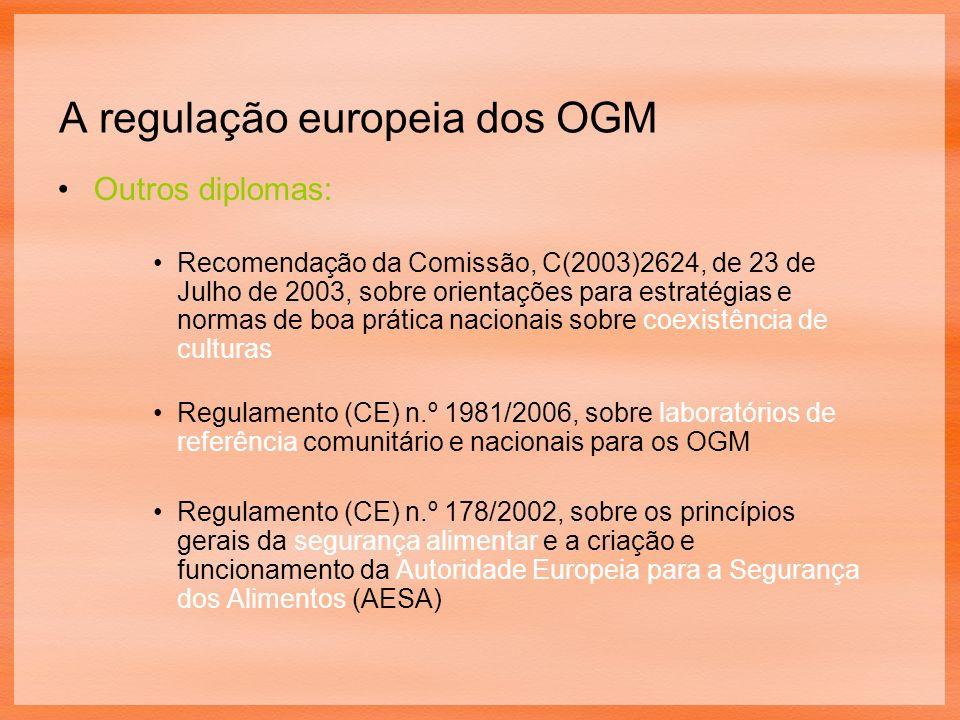 A regulação europeia dos OGM Outros diplomas: Recomendação da Comissão, C(2003)2624, de 23 de Julho de 2003, sobre orientações para estratégias e normas de boa prática nacionais sobre coexistência de culturas Regulamento (CE) n.º 1981/2006, sobre laboratórios de referência comunitário e nacionais para os OGM Regulamento (CE) n.º 178/2002, sobre os princípios gerais da segurança alimentar e a criação e funcionamento da Autoridade Europeia para a Segurança dos Alimentos (AESA)
