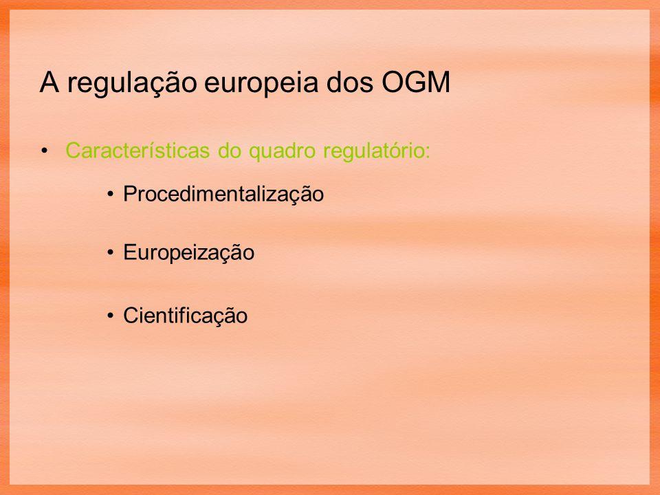 A regulação europeia dos OGM Características do quadro regulatório: Procedimentalização Europeização Cientificação