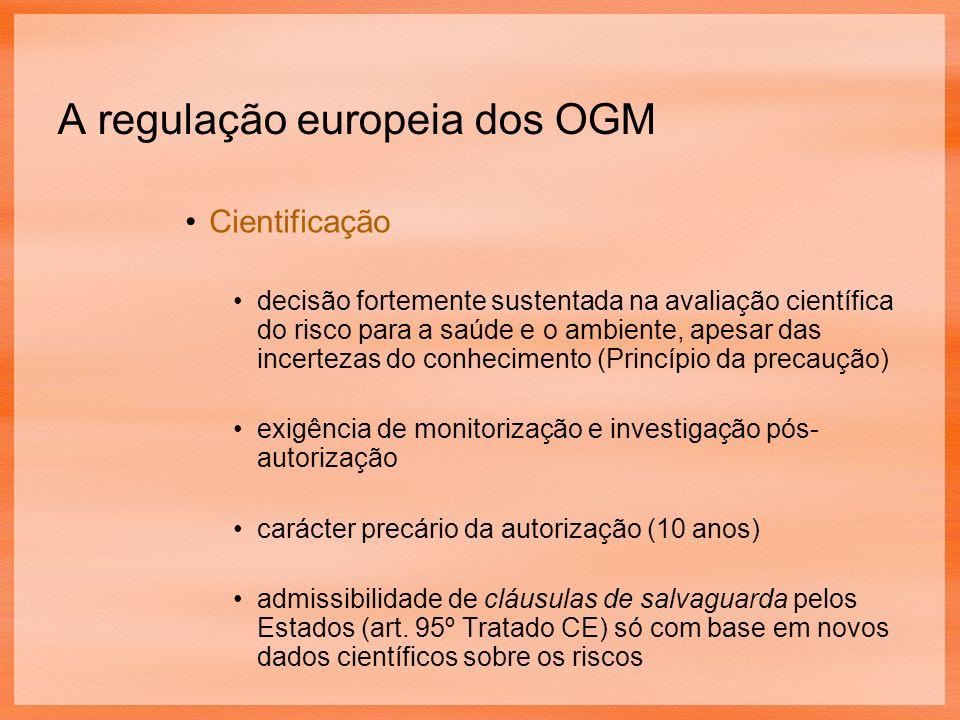 A regulação europeia dos OGM Cientificação decisão fortemente sustentada na avaliação científica do risco para a saúde e o ambiente, apesar das incertezas do conhecimento (Princípio da precaução) exigência de monitorização e investigação pós- autorização carácter precário da autorização (10 anos) admissibilidade de cláusulas de salvaguarda pelos Estados (art.