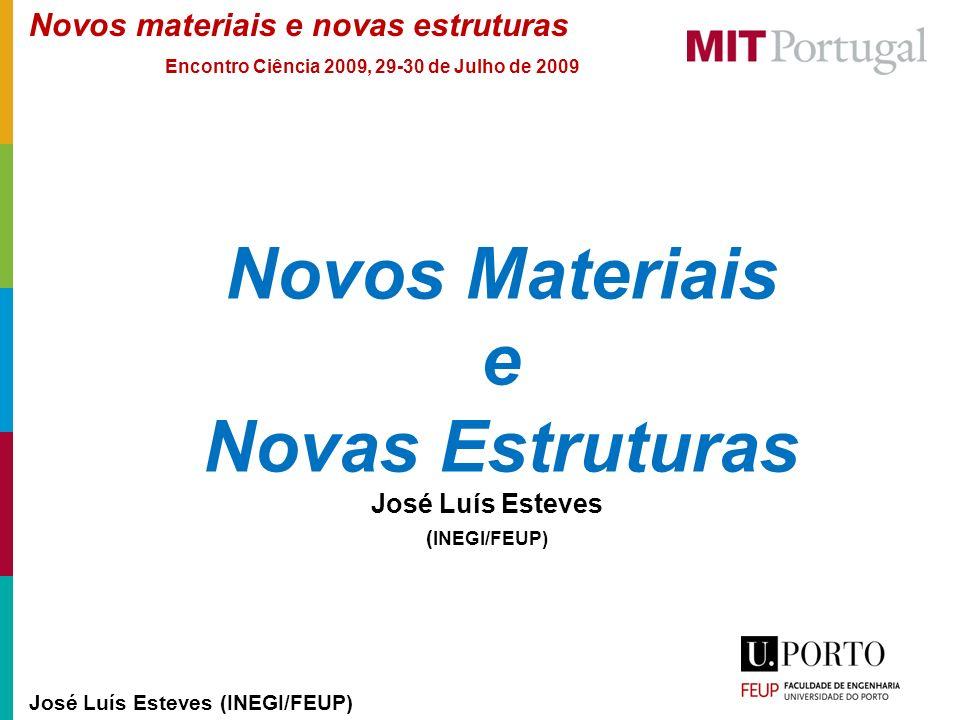 Novos materiais e novas estruturas José Luís Esteves (INEGI/FEUP) Encontro Ciência 2009, 29-30 de Julho de 2009 Novos Materiais e Novas Estruturas Jos