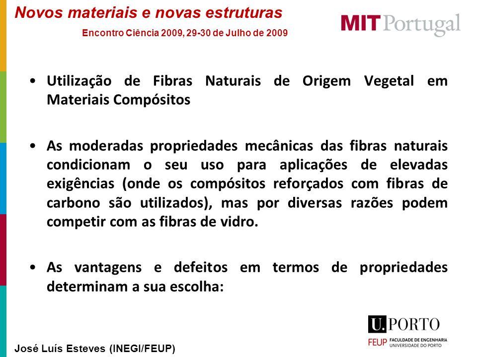 Novos materiais e novas estruturas José Luís Esteves (INEGI/FEUP) Encontro Ciência 2009, 29-30 de Julho de 2009 Utilização de Fibras Naturais de Orige