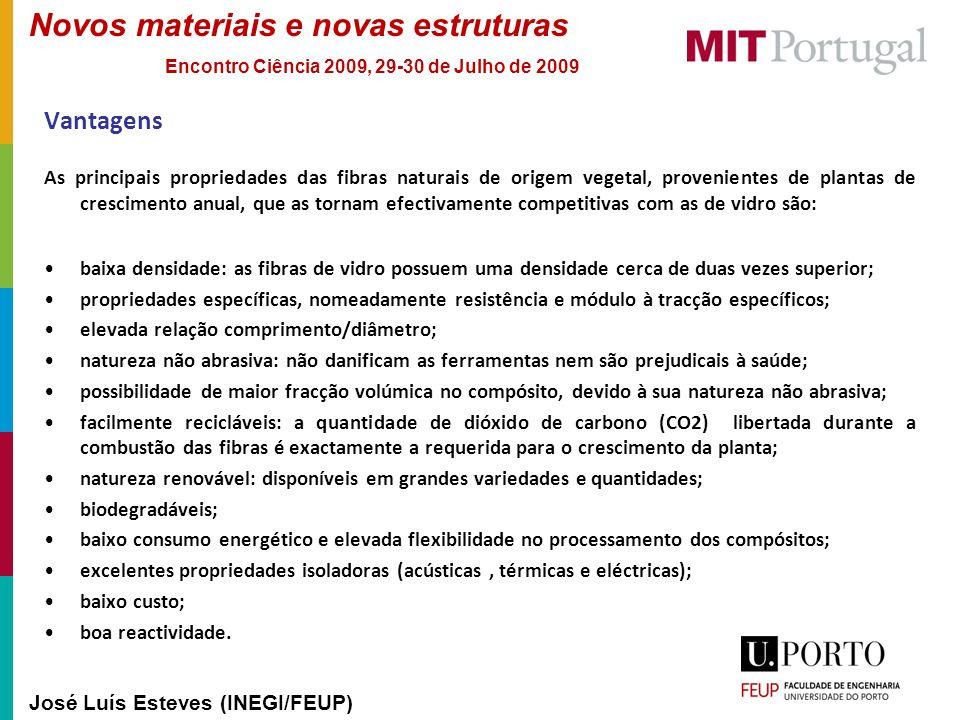 Novos materiais e novas estruturas José Luís Esteves (INEGI/FEUP) Encontro Ciência 2009, 29-30 de Julho de 2009 Vantagens As principais propriedades d