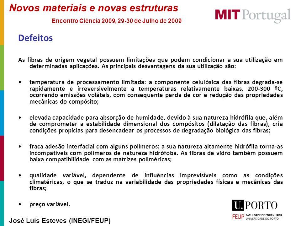 Novos materiais e novas estruturas José Luís Esteves (INEGI/FEUP) Encontro Ciência 2009, 29-30 de Julho de 2009 Defeitos As fibras de origem vegetal p