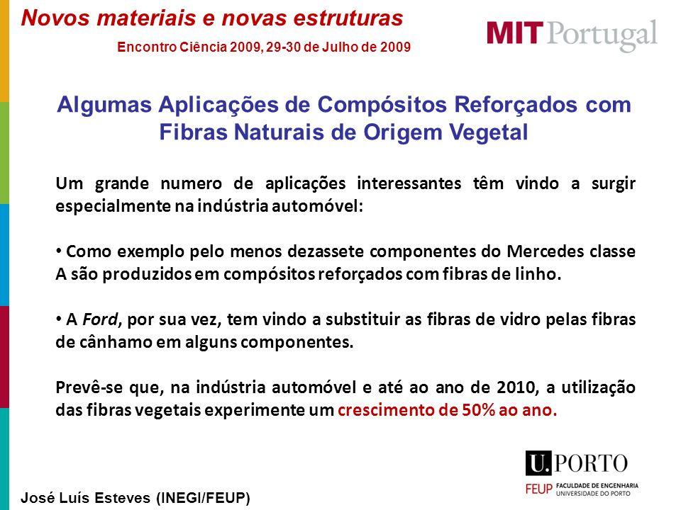 Novos materiais e novas estruturas José Luís Esteves (INEGI/FEUP) Encontro Ciência 2009, 29-30 de Julho de 2009 Algumas Aplicações de Compósitos Refor