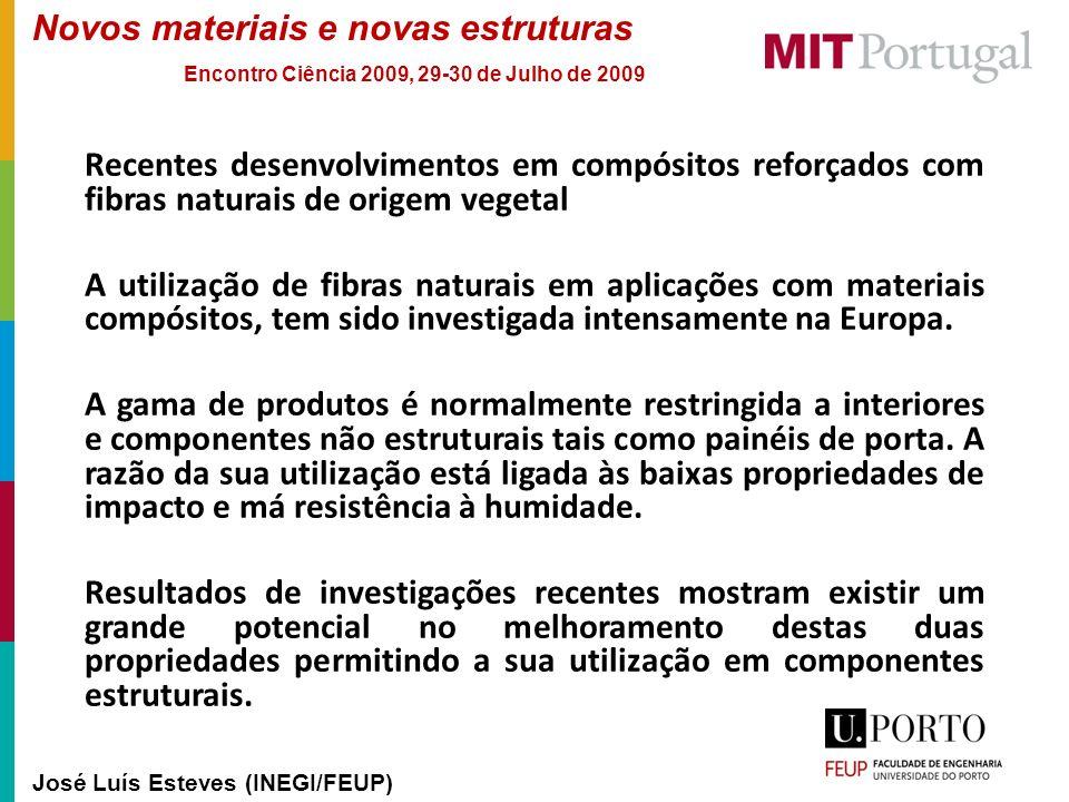 Novos materiais e novas estruturas José Luís Esteves (INEGI/FEUP) Encontro Ciência 2009, 29-30 de Julho de 2009 Recentes desenvolvimentos em compósito
