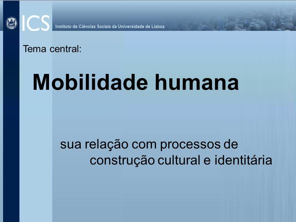 sua relação com processos de construção cultural e identitária Tema central: Mobilidade humana