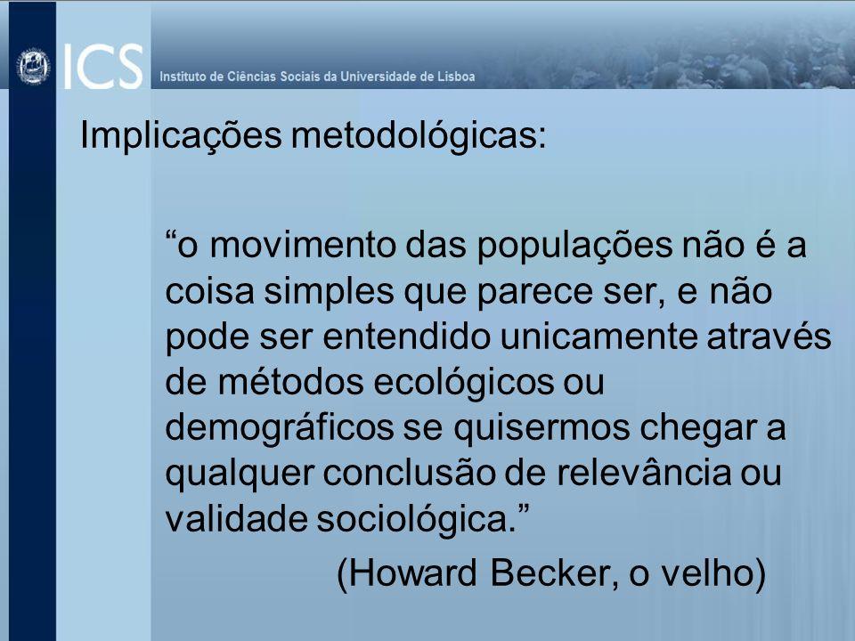 Implicações metodológicas: o movimento das populações não é a coisa simples que parece ser, e não pode ser entendido unicamente através de métodos eco