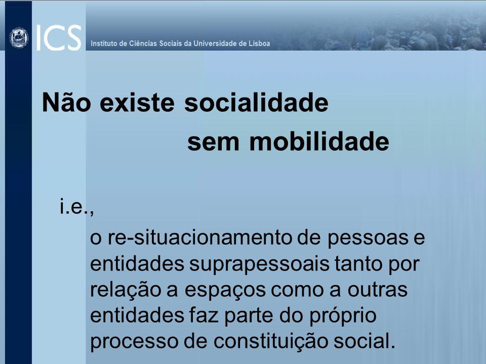 Não existe socialidade sem mobilidade i.e., o re-situacionamento de pessoas e entidades suprapessoais tanto por relação a espaços como a outras entida