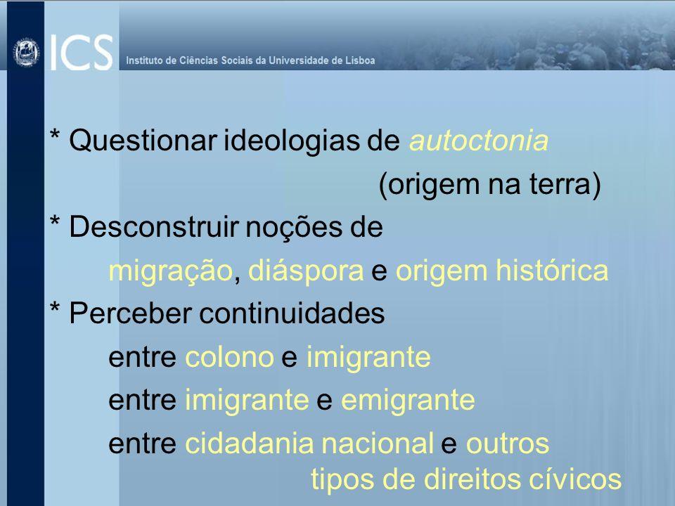 * Questionar ideologias de autoctonia (origem na terra) * Desconstruir noções de migração, diáspora e origem histórica * Perceber continuidades entre