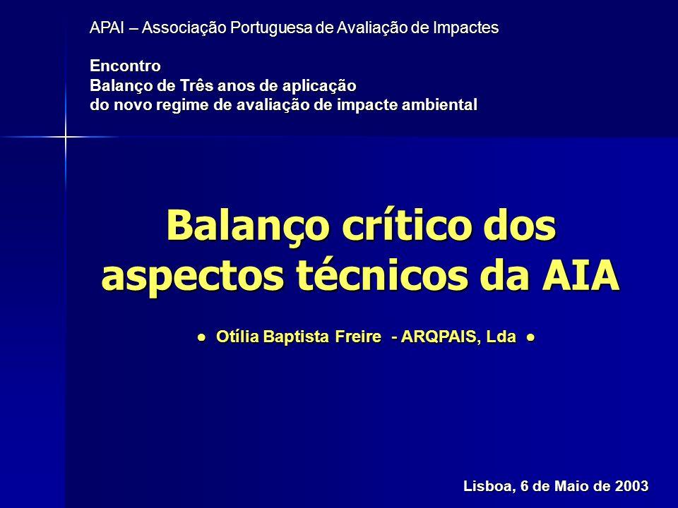Balanço crítico dos aspectos técnicos da AIA APAI – 6 de Maio DE 2003 Objectivos: Objectivos: –Balanço retrospectivo do que mudou nos últimos anos –Análise da situação presente –O que se pretende no futuro