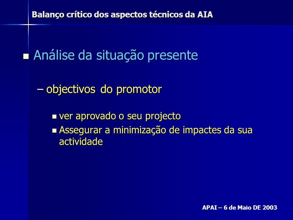 Balanço crítico dos aspectos técnicos da AIA APAI – 6 de Maio DE 2003 Análise da situação presente Análise da situação presente –objectivos do promoto