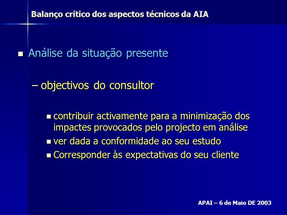 Balanço crítico dos aspectos técnicos da AIA APAI – 6 de Maio DE 2003 Análise da situação presente Análise da situação presente –objectivos do consult