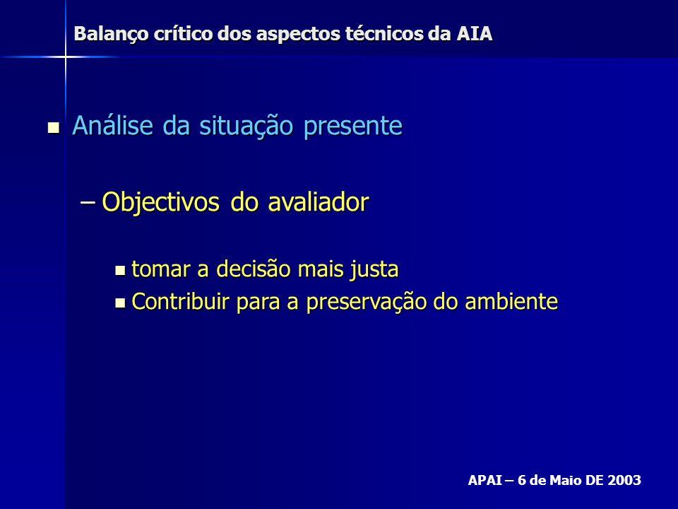 Balanço crítico dos aspectos técnicos da AIA APAI – 6 de Maio DE 2003 Análise da situação presente Análise da situação presente –Objectivos do avaliad