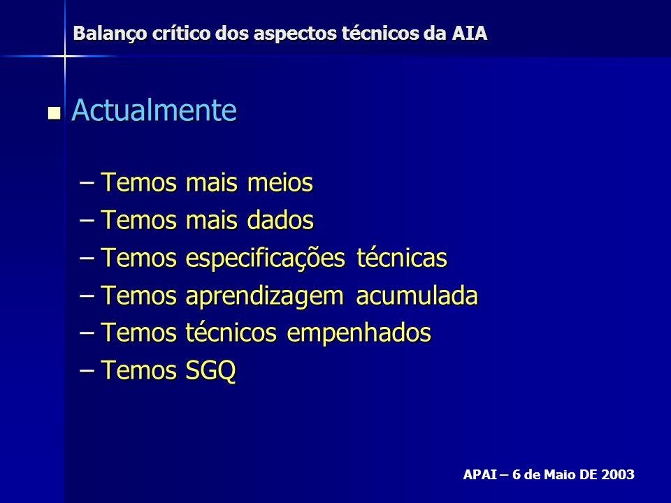 Balanço crítico dos aspectos técnicos da AIA APAI – 6 de Maio DE 2003 Actualmente Actualmente –Temos mais meios –Temos mais dados –Temos especificaçõe