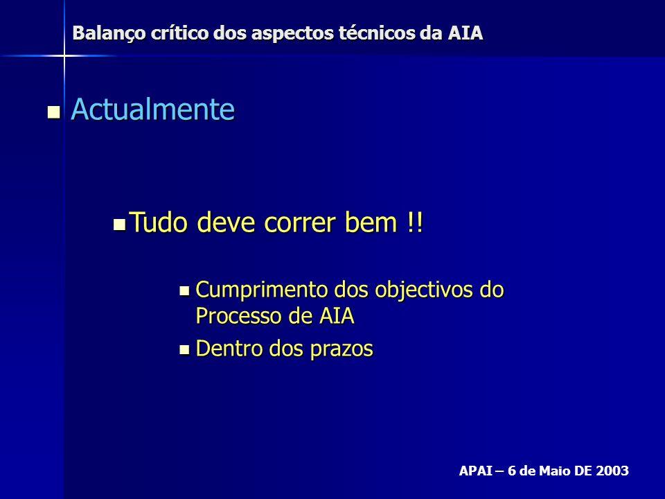 Balanço crítico dos aspectos técnicos da AIA APAI – 6 de Maio DE 2003 Actualmente Actualmente Tudo deve correr bem !! Tudo deve correr bem !! Cumprime