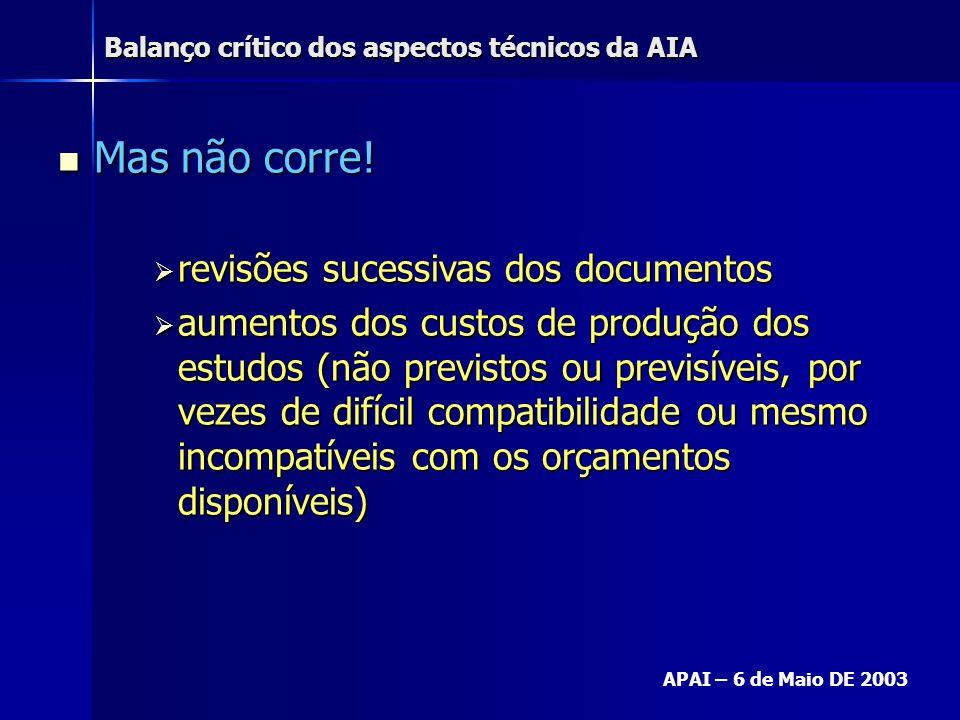 Balanço crítico dos aspectos técnicos da AIA APAI – 6 de Maio DE 2003 Mas não corre! Mas não corre! revisões sucessivas dos documentos revisões sucess