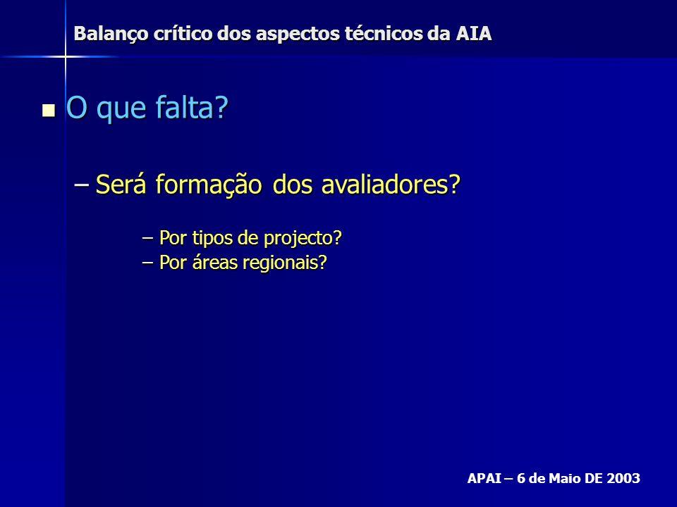 Balanço crítico dos aspectos técnicos da AIA APAI – 6 de Maio DE 2003 O que falta? O que falta? –Será formação dos avaliadores? –Por tipos de projecto
