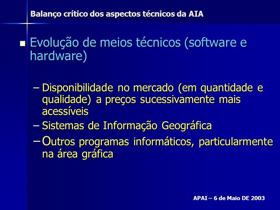 Balanço crítico dos aspectos técnicos da AIA APAI – 6 de Maio DE 2003 Evolução de meios técnicos (software e hardware) Evolução de meios técnicos (sof
